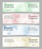 Abstract  banners set. Abstract polygonal  banners set. Low poly banners with triangles Stock Images