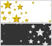 Abstract banners with silver and golden stars Royalty Free Stock Image