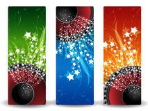 Abstract banners with speaker. Three abstract banners with speaker and stars Royalty Free Stock Images
