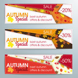 Abstract 3 Banners Template Autumn Special. 3 templates for autumn sale Royalty Free Stock Photo