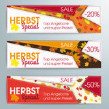 Abstract 3 Banners Template Herbst Special. German text Herbstspecial and top Angebot, translate autumn special and best offers Stock Photos