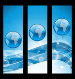 Abstract banners with wavy water line and earth sy Royalty Free Stock Photos