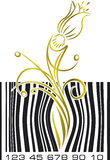 Abstract bar code with flower. Stock Photo