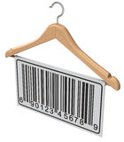 Abstract barcode label on wooden hanger Stock Image
