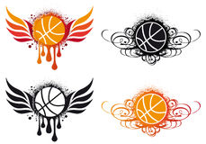 Abstract basketball,. Basketball with fire wing and ornament Stock Photos