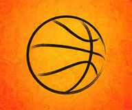 Abstract basketball drawn on a orange background Stock Image