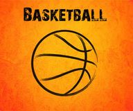 Abstract basketball drawn on a orange background Stock Photography