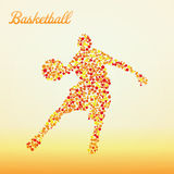 Abstract basketball player. Silhouette from dots dribbling vector illustration