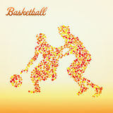 Abstract basketball player. Silhouette from dots dribbling stock illustration