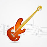 Abstract Bass Guitar, Staff. And Notes Illustration Royalty Free Stock Photo