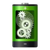Abstract - battery with gear wheels inside Stock Image