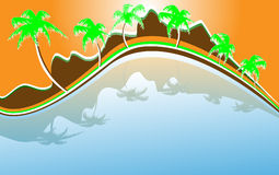 Abstract beach with palms and mountains Royalty Free Stock Images