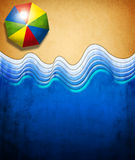 Abstract beach scene. Abstract scene of a beach with an umbrella, paper texture, ideal for posters and cards Royalty Free Stock Image