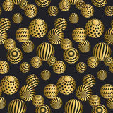 Abstract beads seamless pattern in gold xmas color.  Concept yel Royalty Free Stock Image