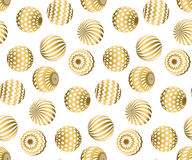 Abstract beads seamless pattern in gold xmas color. Stock Images