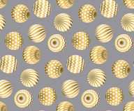 Abstract beads seamless pattern in gold xmas color. Royalty Free Stock Photos