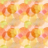 Abstract beautiful artistic tender wonderful transparent bright autumn. Orange yellow red circles different shapes pattern watercolor hand illustration. Perfect vector illustration
