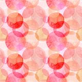 Abstract beautiful artistic tender wonderful transparent bright autumn orange pink red circles different shapes pattern watercolor Royalty Free Stock Photos