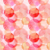 Abstract beautiful artistic tender wonderful transparent bright autumn orange pink red circles different shapes pattern watercolor. Hand illustration. Perfect Royalty Free Stock Photos