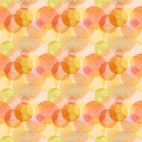 Abstract beautiful artistic tender wonderful transparent bright autumn orange yellow red circles different shapes pattern watercol. Or hand illustration. Perfect stock illustration