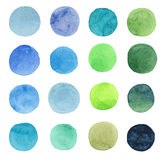 Abstract beautiful artistic tender wonderful transparent bright blue, green, herbal, navy, indigo, turquoise, ultramarine circles Stock Image