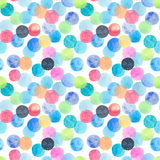 Abstract beautiful artistic tender wonderful transparent bright blue, green, red, pink, yellow, orange, navy circles pattern. Watercolor hand sketch royalty free illustration