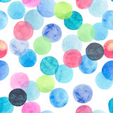 Abstract beautiful artistic tender wonderful transparent bright blue, green, red, pink, yellow, orange, navy circles pattern. Watercolor hand sketch Stock Image