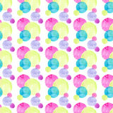 Abstract beautiful artistic tender wonderful transparent bright colorful circles different shapes pattern watercolor. Hand sketch Stock Photos