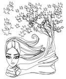 Abstract Beautiful autumn Woman. Portrait stock illustration