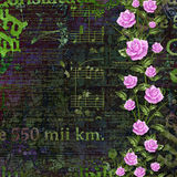 Abstract beautiful background in the style of mixed media. With floral ornament, words and  figures Stock Images
