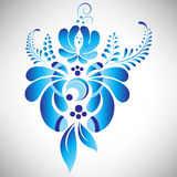 Abstract beautiful blue floral element in Russian gzhel style for your design Royalty Free Stock Images