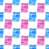 Abstract beautiful bright transparent beautiful textured summer blue and pink spots blots pattern. Watercolor hand illustration. Perfect for textile, wallpapers Royalty Free Stock Photos