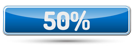 50% - Abstract beautiful button with text. Stock Photos