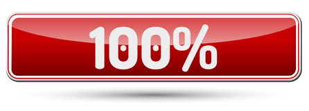100% - Abstract beautiful button with text. Royalty Free Stock Image