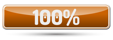 100% - Abstract beautiful button with text. Royalty Free Stock Images