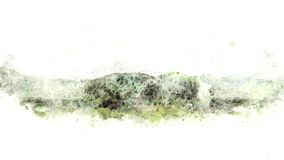 Abstract Beautiful field and tree landscape on watercolor illustration painting. Abstract Beautiful field and tree landscape on watercolor illustration painting stock photography