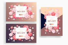 Abstract beautiful flowers vector backgrounds - rose gold colors royalty free illustration