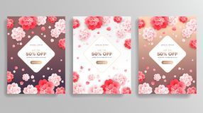 Abstract beautiful flowers vector backgrounds - rose gold colors stock illustration