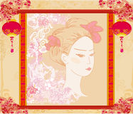 Abstract Beautiful geisha portrait Stock Photo