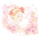 Abstract Beautiful geisha  Portrait Royalty Free Stock Photography