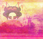 Abstract Beautiful geisha Portrait. Raster illustration Stock Photography