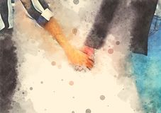Abstract beautiful girl hand shake on watercolor illustration painting. Background royalty free stock photo
