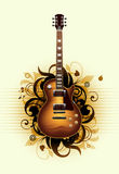 Abstract with beautiful guitar. Abstract with beautiful  guitar on a yellow background Royalty Free Stock Images