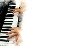 Abstract beautiful hand playing keyboard of the piano. Foreground Watercolor painting background and Digital illustration brush to art Stock Photography