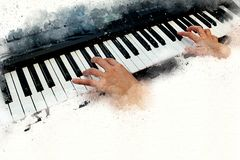 Abstract beautiful hand playing keyboard of the piano. Foreground Watercolor painting background and Digital illustration brush to art Stock Photo