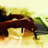 Abstract beautiful hand a woman playing keyboard. Of the piano foreground Watercolor painting background and Digital illustration brush to art Royalty Free Stock Image