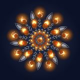Happy Diwali Background. Burning Candle On Dark Background vector illustration