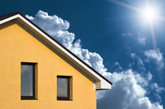 Abstract beautiful house facade under blue sky Stock Photo