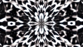 Abstract, beautiful monochrome figures sucked to the central point of animation, kaleidoscope motion background. Geometric background with symmetrical figures vector illustration