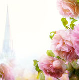 Abstract Beautiful morning floral border Stock Photos